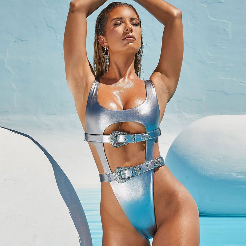 High Cut Metallic Belted Thong Brazilian One Piece Swimsuit