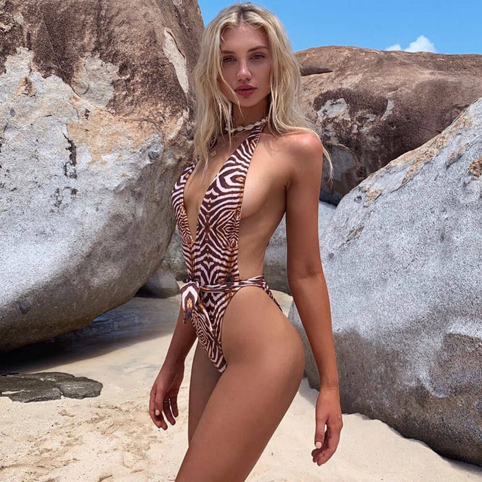 High Cut Printed Low Back Deep V Halter Brazilian One Piece Swimsuit