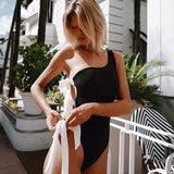High Cut Ribbed Strappy One Shoulder Brazilian One Piece Swimsuit