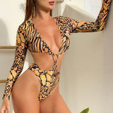 High Cut Ring Trim Cutout Thong Monokini Brazilian One Piece Swimsuit