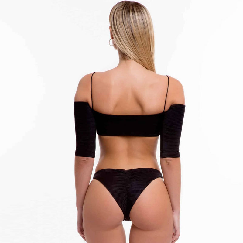 High Cut Sleeved Ribbed Off Shoulder Brazilian Two Piece Bikini Swimsuit