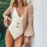 High Leg Belted Ribbed Deep V Brazilian One Piece Swimsuit