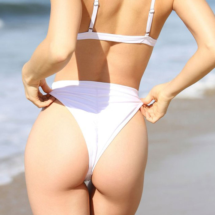 High Leg High Waisted Scrunch Brazilian Bikini Bottom