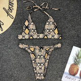 High Leg Snake Micro Triangle Brazilian Two Piece Bikini Swimsuit