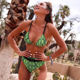 High Waist Neon Snake Slide Triangle Brazilian Two Piece Bikini Swimsuit