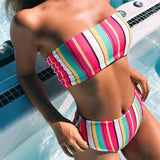 High Waist Rainbow Striped Bandeau Brazilian Two Piece Bikini Swimsuit