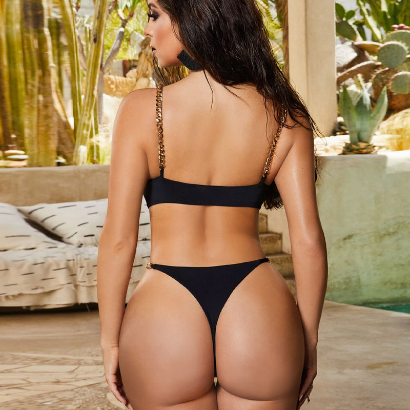 Hollow Out High Cut Thong Brazilian One Piece Swimsuit