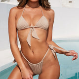 Knotted Tie Front Sliding Triangle Brazilian Two Piece Bikini Swimsuit