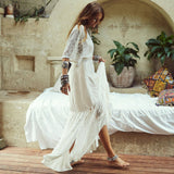 Lace Panel Sleeved V Neck Maxi Brazilian Beach Cover Up