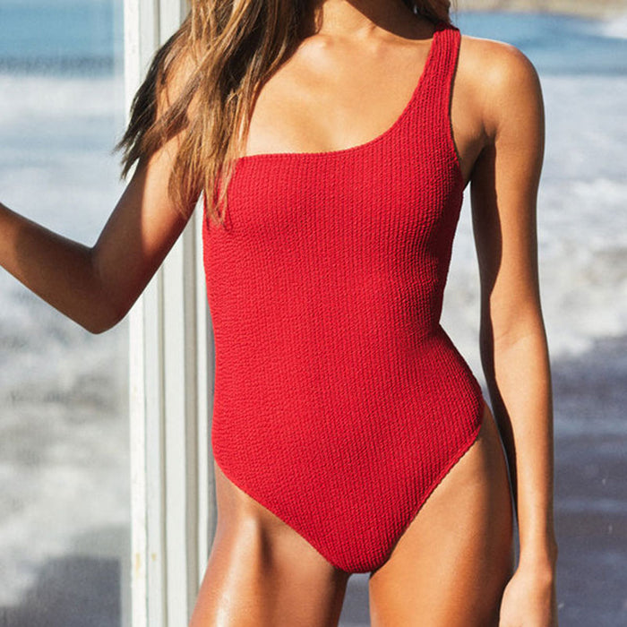 Lace Up Back Textured One Shoulder Brazilian One Piece Swimsuit