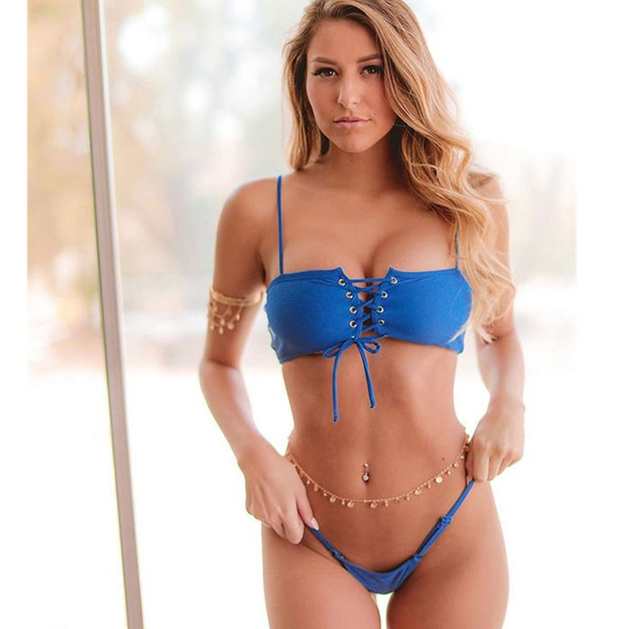 Lace Up Bandeau Brazilian Two Piece Bikini Swimsuit