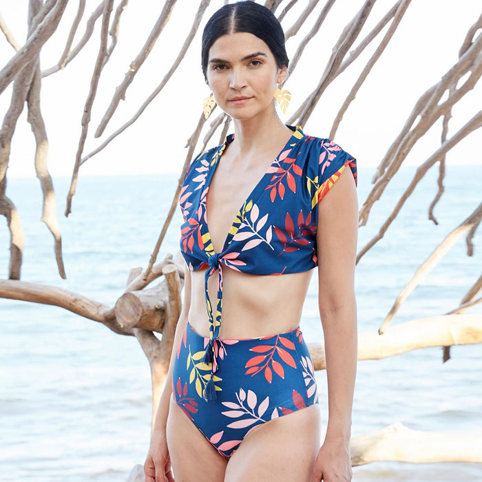 Leaf Print High Waist Knotted Front Brazilian Two Piece Bikini Swimsuit