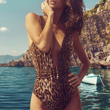 Leopard Deep V High Leg Belted Brazilian One Piece Swimsuit