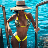 Leopard High Leg Slide Triangle Halter Brazilian Two Piece Bikini Swimsuit