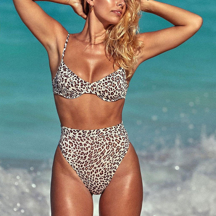 Leopard High Waist Underwire Brazilian Two Piece Bikini Swimsuit