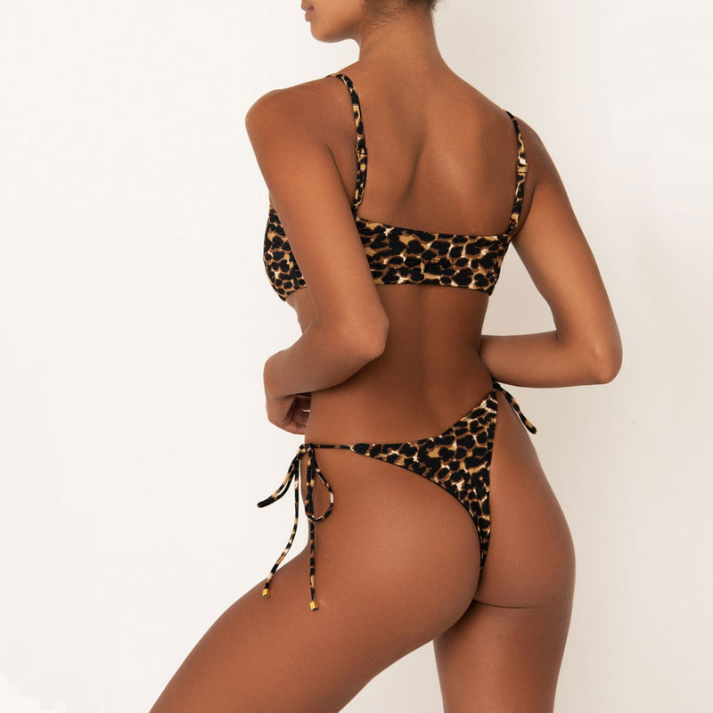 Leopard Tie String Cheeky Brazilian Two Piece Bikini Swimsuit