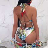 Low Back Baroque Print Halter Brazilian One Piece Swimsuit