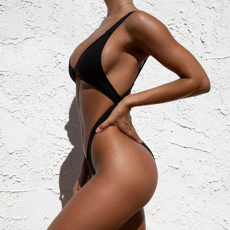 Low Back High Leg Cutout Detail Knotted Front Brazilian One Piece Swimsuit