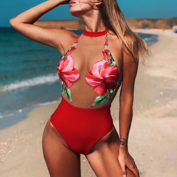Mesh Floral Front Halter Low Back Brazilian One Piece Swimsuit