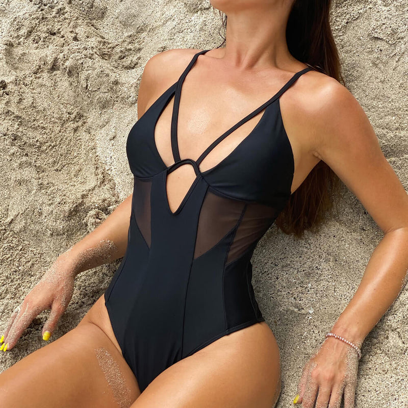 Mesh Panel Underwire Deep V Neck Brazilian One Piece Swimsuit