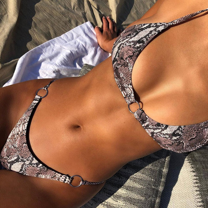 Metal Ring Snake Bralette Brazilian Two Piece Bikini Swimsuit