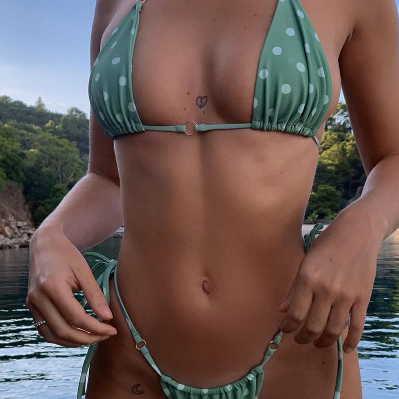 Metal Ring Tie String Slide Triangle Brazilian Two Piece Bikini Swimsuit