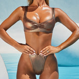 Metallic Ribbed High Cut Brazilian Two Piece Bikini Swimsuit