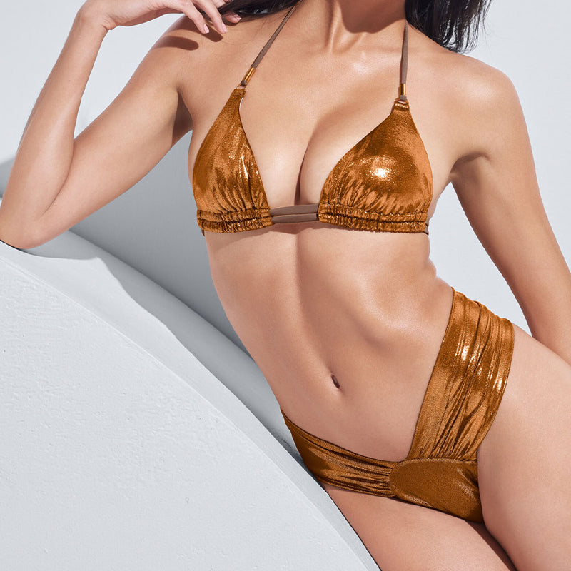 Metallic Ruched Slide Triangle Brazilian Two Piece Bikini Swimsuit