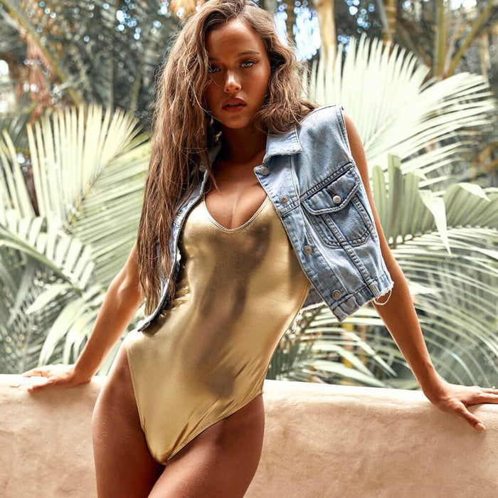 Metallic Scoop Neck Brazilian One Piece Swimsuit