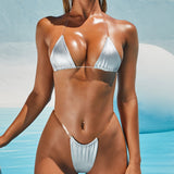 Metallic Sheer Strappy Slide Triangle Brazilian Two Piece Bikini Swimsuit