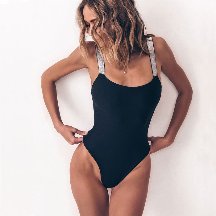 Metallic Straps Brazilian One Piece Swimsuit