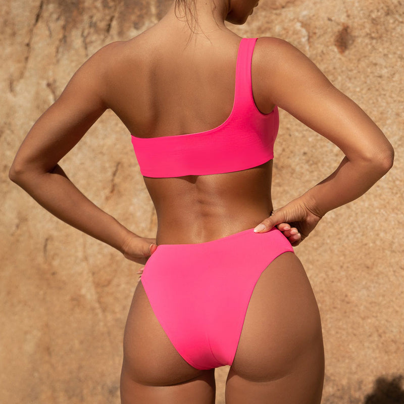 Neon One Shoulder Cheeky Brazilian Two Piece Bikini Swimsuit