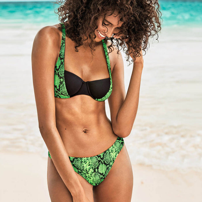 Neon Snake Underwire Brazilian Two Piece Bikini Swimsuit