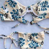 Palm Leaf Self Tie Underwire Brazilian Two Piece Bikini Swimsuit