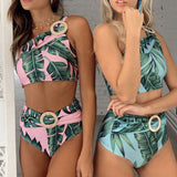 Palm Print High Waist One Shoulder Brazilian Two Piece Bikini Swimsuit