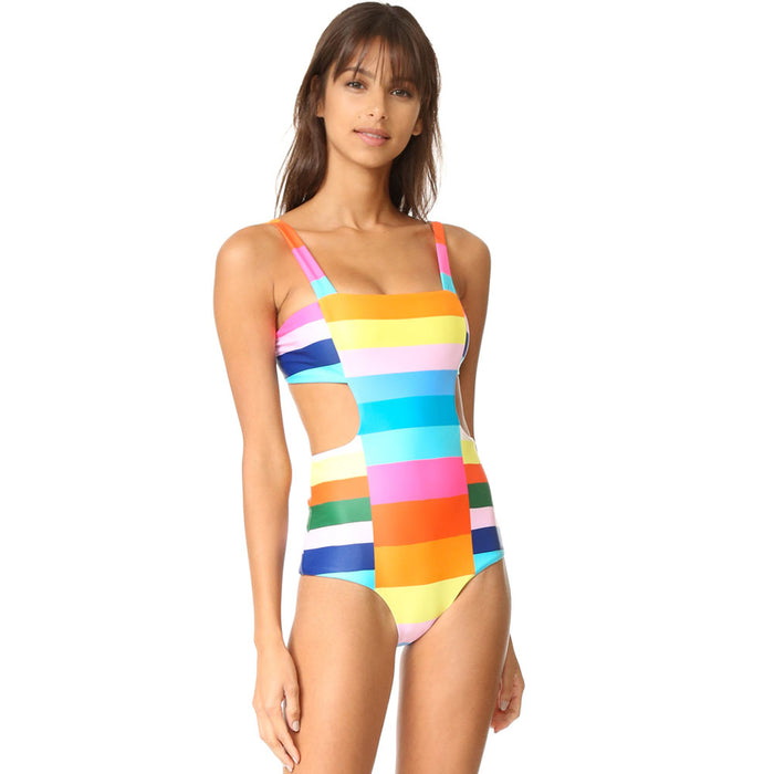 Rainbow Striped Tie Back Brazilian Monokini One Piece Swimsuit