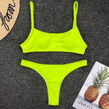 Ribbed High Leg String Bandeau Brazilian Two Piece Bikini Swimsuit