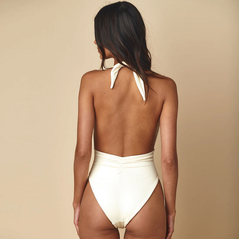 Ribbed Low Back Knotted Front Halter Brazilian One Piece Swimsuit