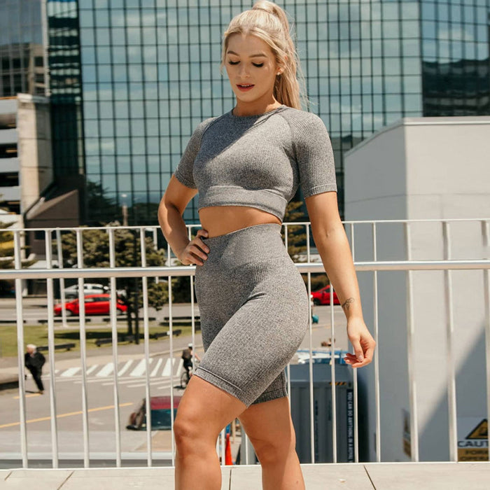 Ribbed Raglan Sleeve High Waist Crop Brazilian Workout Set