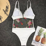Rose Embroidery Mesh Panel Brazilian One Piece Swimsuit
