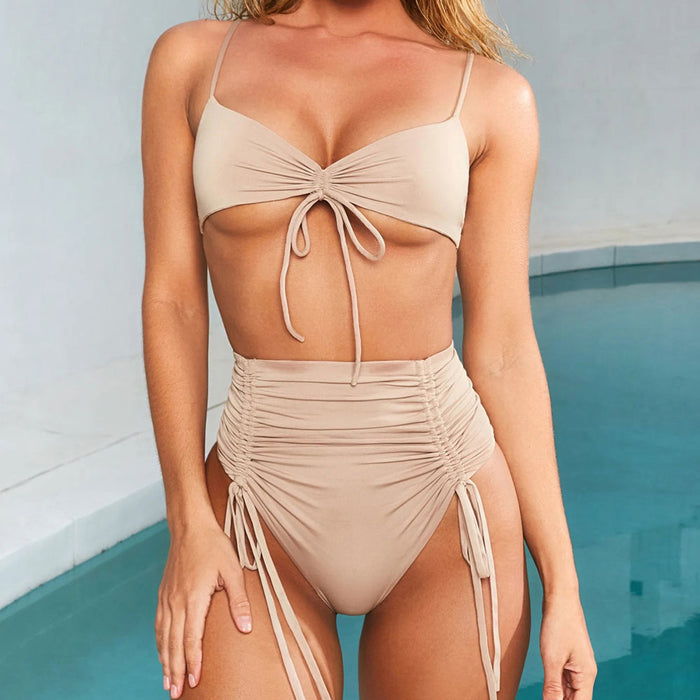 Ruched Drawstring High Waist Thong Bralette Brazilian Two Piece Bikini Swimsuit