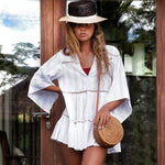 Ruffle Crochet Button Down Sleeved Mini Brazilian Beach Cover Up