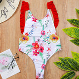 Ruffle Low Back High Leg Floral Brazilian One Piece Swimsuit