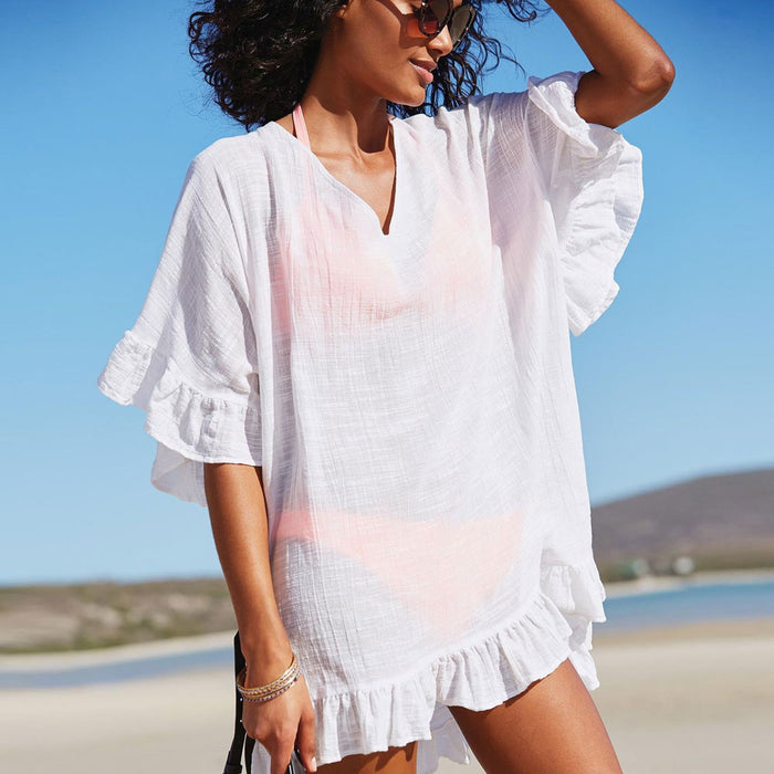 Ruffle Sleeve V Neck Brazilian Beach Cover Up