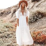 uffle Sleeved Self Tie Button Front Maxi Brazilian Beach Cover Up