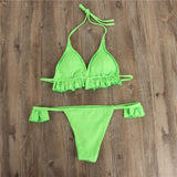 Ruffle Slide Triangle Thong Brazilian Two Piece Bikini Swimsuit