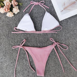 Sexy Tie String Slide Triangle Brazilian Two Piece Bikini Swimsuit