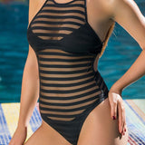 Sheer Mesh Panel High Neck Brazilian One Piece Swimsuit