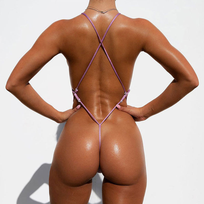 Shining High Cut Cross Low Back Thong Brazilian One Piece Swimsuit