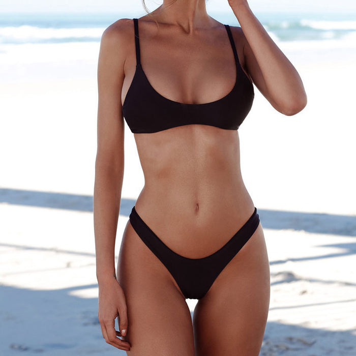 5ebda5177c ... Solid Triangle High Cut Leg Brazilian Two Piece Bikini Swimsuit ...